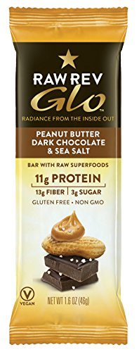 Raw Rev Glo Vegan Gluten-Free Protein Bars - Peanut Butter Dark Chocolate & Sea Salt 1.6 ounce (Pack of 12)