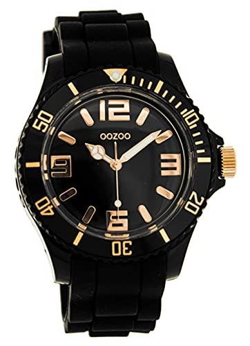 Oozoo C4354 C4354 Black/Rose - Reloj analógico de Cuarzo para Mujer, Correa de Silicona Color Negro