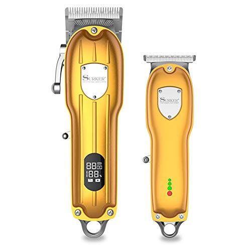 SURKER Mens Hair Clipper Professional Hair Trimmer Barber Clipper Set with Detailed Trimmer Cordless...