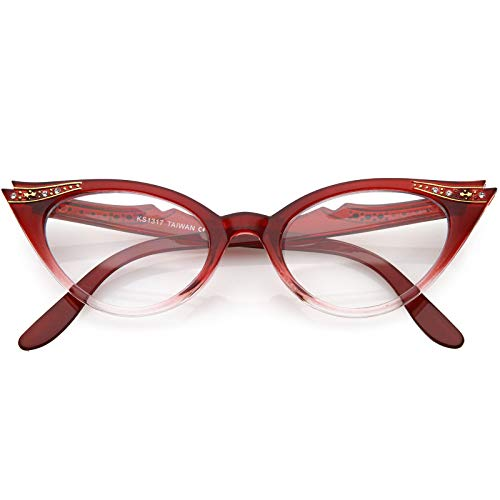 Vintage Cateyes 80s Inspired Fashion Clear Lens Cat Eye Glasses with Rhinestones (Red Fade)