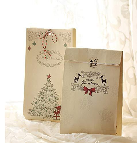 ILOVEDIY 4Stück Kraftpapier Tüten Geschenktüten Papier für Süßigkeiten, Schmuck, Einladung, Geschenk, Adventskalender