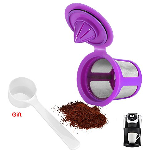 Powstro Refillable Coffee Capsule Cup, RVS Mesh Lege Koffie Fliter Pods Bekers Herbruikbare Espresso Koffiebeker Compatibel voor Keurig 2.0 Koffie Machine Accessoires 1pcs Paars