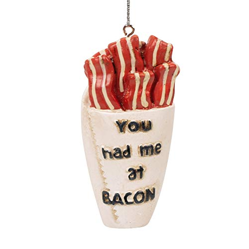 Midwest-CBK You Had Me at Bacon White 3 x 1 Resin Stone Christmas Hanging Ornament