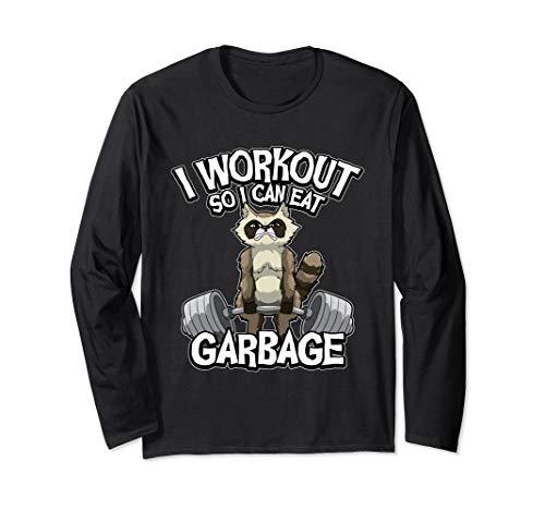 Ich trainiere, damit ich Müll essen kann - Waschbär Langarmshirt