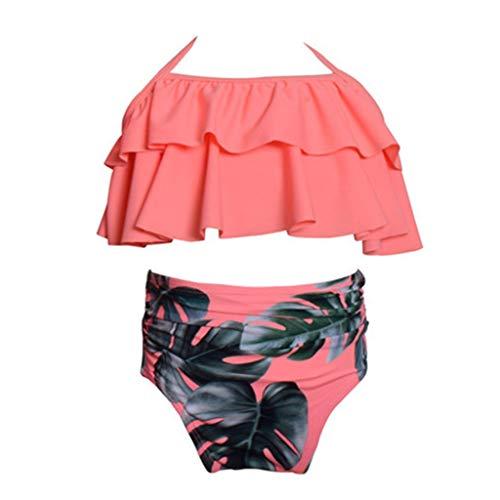 OSELLINE 2021 Nuevo Bikini, Traje de baño para Madre e Hija Traje de baño a Juego con la Familia Conjunto de Bikini de Dos Piezas para niña A
