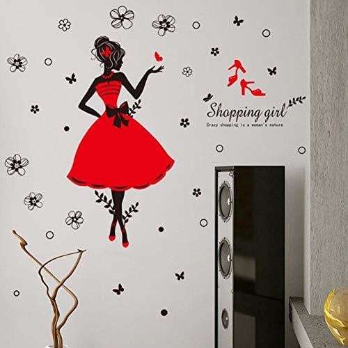 Terilizi Beauty Hoge Hakken Bloemen Winkelen Meisje Verwijderbare PVC Muursticker Home Decor Kamer Decal Grote Maat 60 * 45Cm