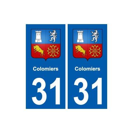 31 Colomiers blason ville autocollant plaque stickers - Angles : droits