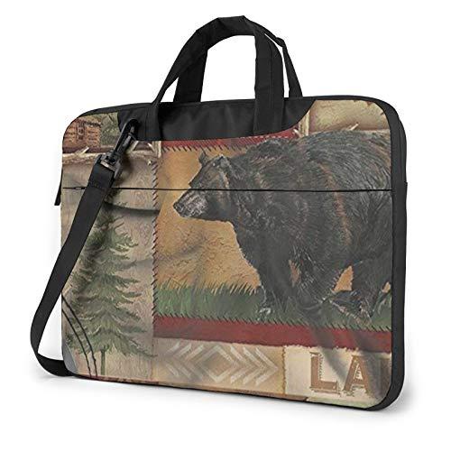 Laptop Case, Rustic Lodge Bear Moose Print Laptop Shoulder Bags Multi-Functional Notebook Sleeve,13-14-15.6 Inch