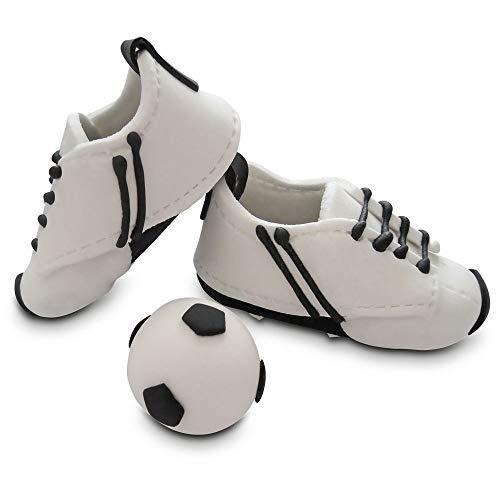 Bombasei Zucker / Fondant Fussball-Schuhe weiss/schwarz, 107 g
