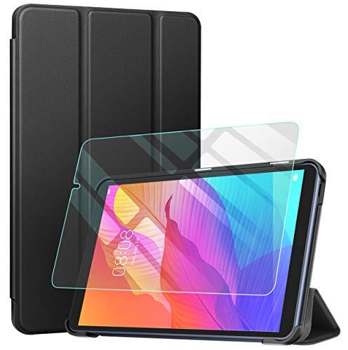 Benazcap Custodia per Huawei MatePad T8 8,0 Pollici 2020 con Protezione per Schermo, Intelligente con Supporto Ultrasottile, Applica a Chassis Huawei MatePad T8 2020, con Funzione Sleep Wake -Nero