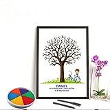 Didart Handmade Cuadro de árbol de huellas con niño de comunión. Varios tamaños y colores de marco.Tintas e instrucciones incluidas. CARTEL e INVITACIÓN a juego si lo deseas.MODELO BICICLETA