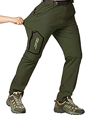 Mens Hiking Stretch Pants Convertible Quick Dry Lightweight Zip Off Outdoor Travel Safari Pants (818 Army Green 30)