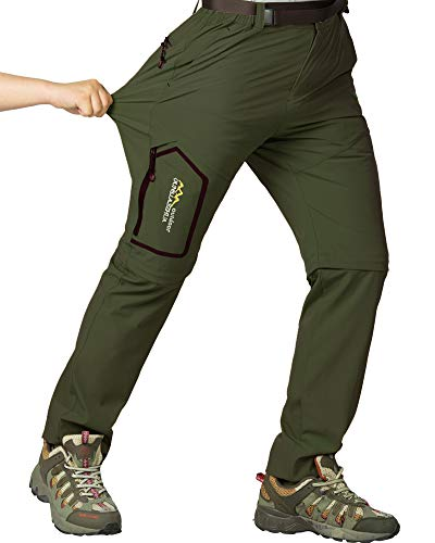 Mens Hiking Stretch Pants Convertible Quick Dry Lightweight Zip Off Outdoor Travel Safari Pants (818 Army Green 42)
