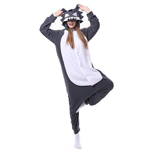 LBJR Unisex Erwachsene Wolf Onesie Kostüm Pyjamas Fasching Halloween Tierkostüme Cosplay Karneval Jumpsuit