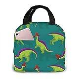 Cute Lambeosaurus Lunch Bag Cooler Bag Women Tote Bag Insulated Lunch Box 8.3 x 7.9 Inch