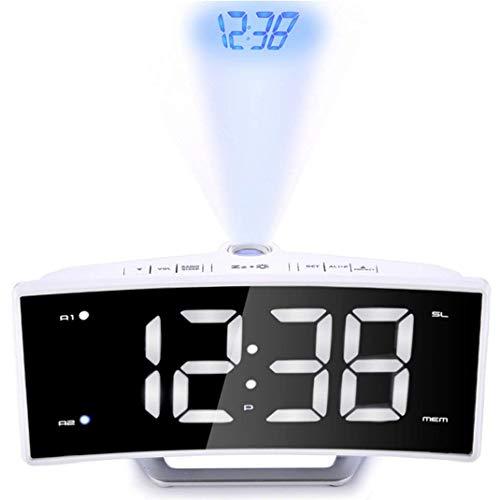 Wecker mit Projektion, gebogener LED-Spiegel FM-Radioprojektion Elektronische Uhr, Handy-Aufladung Hintergrundbeleuchtung/Snooze Luminous Projection Clock, Weiß