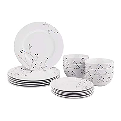 AmazonBasics 18-Piece Kitchen Dinnerware Set, Plates, Dishes, Bowls, Service for 6, Branches