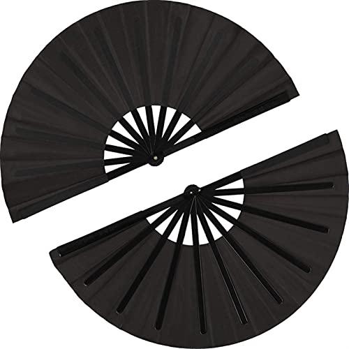 ZRNG 2 Pezzi Grande Fan Pieghevole in Nylon Ploth Pontile Pennello Pieghevole Fan Cinese Kung Fu Tai Chi Ventilatore Decorazione Nera Piegatrice Fan Adatta for la Festa (Color : Black)