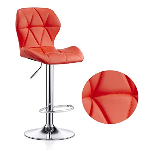 Metal Barstools Swivel Chair Lift Leather Cushion Adjustable Height Bar Stool with Backrest Max Load 200kg(Size:40-55cm,Color:orange)
