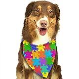 Wfispiy Colorido Vector Rompecabezas Patrón Pascua Perro Bandana Triángulo Reversible Baberos para Perros Mascotas Animales