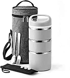 Lille Home Stackable Stainless Steel Thermal Compartment Lunch Box