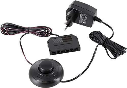 Netzteil 12V 6W SET - Eurostecker mit 2m Kabel + Fuss-Schalter + 2x2m Verbindungs-Kabel mit 6-fach-Verteiler MINI-AMP-Buchse - für 12V LED Leuchten und Strahler