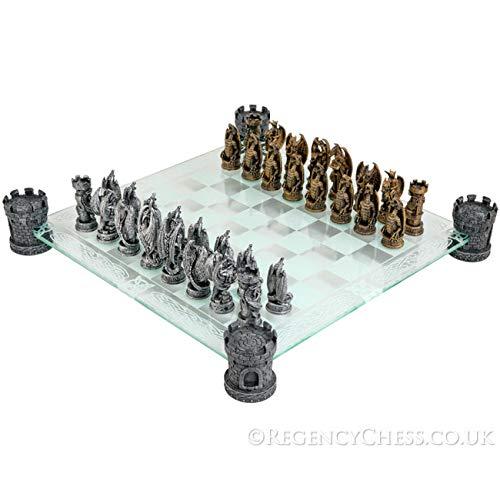 Kingdom der Drache Phantasie Glas Schachspiel