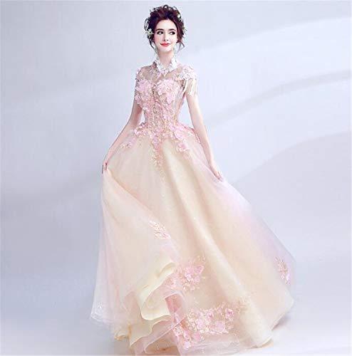 LYJFSZ-7 Hochzeitskleid,Elegantes Und Schönes Brautkleid, Blumenfee, Elegantes Abendkleid, Schlank, Heller Champagner Und Rosa Brautkleid