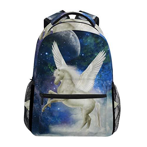 DOSHINE Reiserucksack, Galaxy Nebula Animal Pegasus Schulranzen Daypack für Männer Frauen Jungen Mädchen Kinder