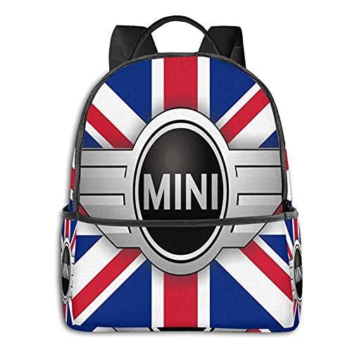 Mi-Ni Logo y bandera de la Unión - Mochila para hombre y niña, mochila de viaje para ordenador portátil, mochila multifuncional, con impresión en D, resistente al agua, resistente al agua