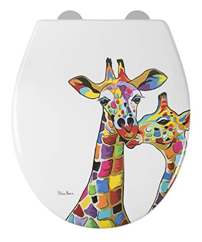 Croydex WL604122 Francie & Josie McZoo Art by Steven Brown Flexi-Fix Toilet Seat Always Fits, Never Slips with Soft Close and Quick Release, White