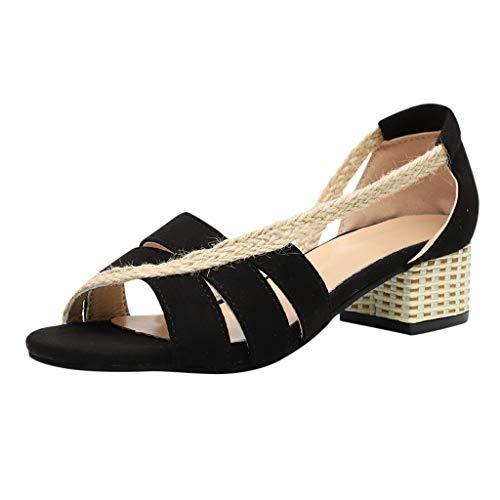Kolylong® Damen Niedrige Sandaletten Offener Strand Sandalen Zeh Hausschuhe Slip-on-Slide Ausgeschnitten Blockabsatz Müßiggänger Schuhe