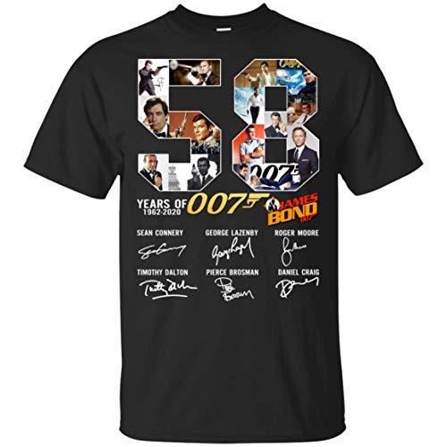 HAVIPRO 58 Years of James Bond Anniversary Funy T-Shirts, Black, XL