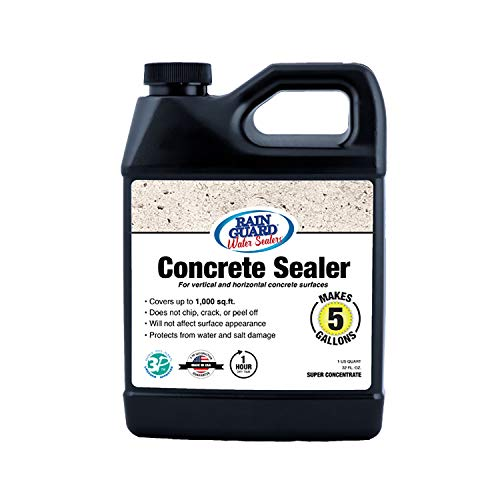 Rain Guard Water Sealers SP-4003 Concrete Sealer Super Concentrate - Water Repellent for Interior or Exterior Concrete - Covers up to 1000 Sq. Ft, 32 oz Makes 5 Gallons, Invisible Clear