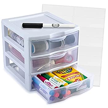 Sterilite Plastic 3 Drawer Storage and Organizer Stackable Desktop Drawer - Bundled with Labels and Marker - White