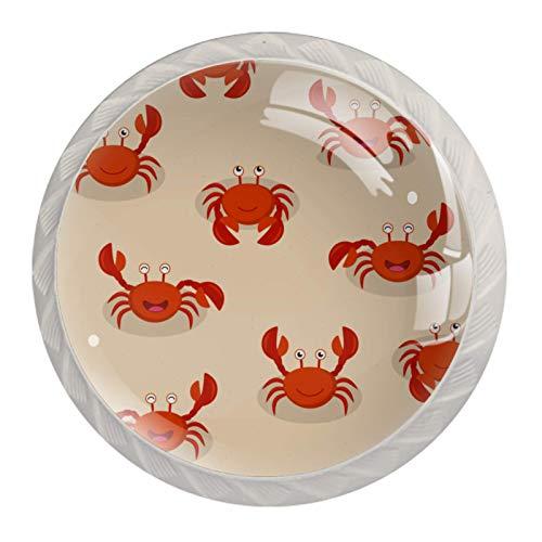 Z&Q Playa de cangrejos rojos de dibujos animados Juego de 4 tiradores modern de Base de Plastico & Cristal, con distintos diseños, ideales para puertas, armarios, cajones y cómodas 35mm