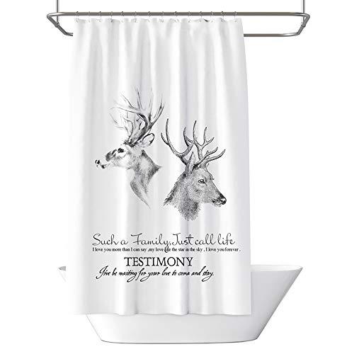 BQEE Duschvorhang, wasserdicht, Digitaldruck, mit 12 Haken, Polyestergewebe, 180 x 180 cm (Reh C)