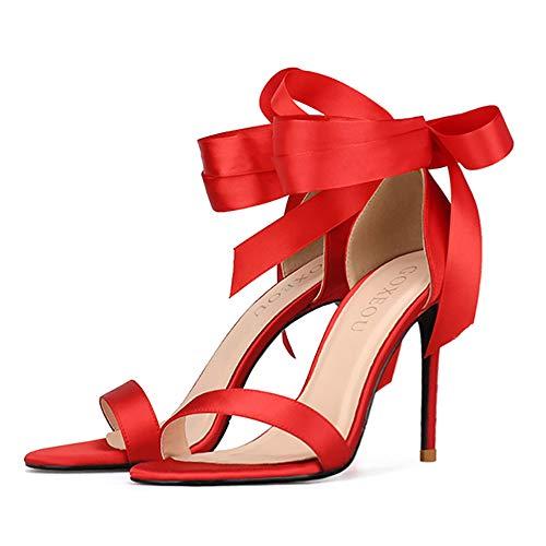 GOXEOU Zapatos de tacón de aguja de satén con punta abierta y tacón de aguja sexy de moda vestido de bomba de fiesta casual sandalias de tacón, rojo 10 Cm Tacón 36 EU
