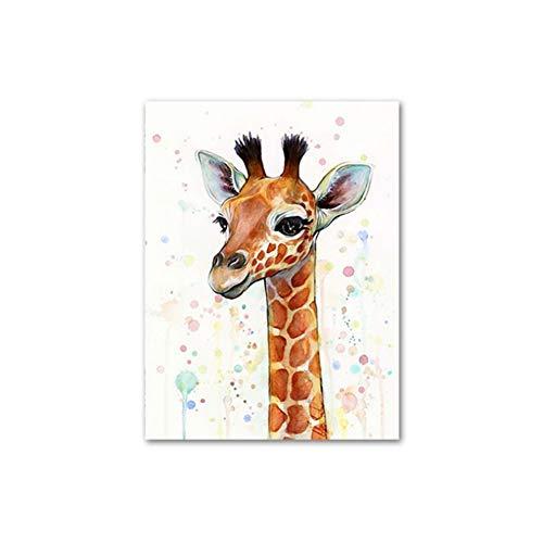 Animal Stil Beautiful Sika Deer Minimalism Leinwand Malerei Poster und Drucke Wandbilder für Living Room Dekoration - 50 x 70 cm ohne Rahmen