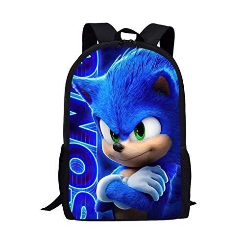 XINFAN Mochila Escolar Sonic Nueva Mochila de Moda Juego Caliente Sonic 4 The Hedgehog patrón Estudiantes Mochilas Escolares Dibujos Animados Anime Adolescentes Mochilas de Libros