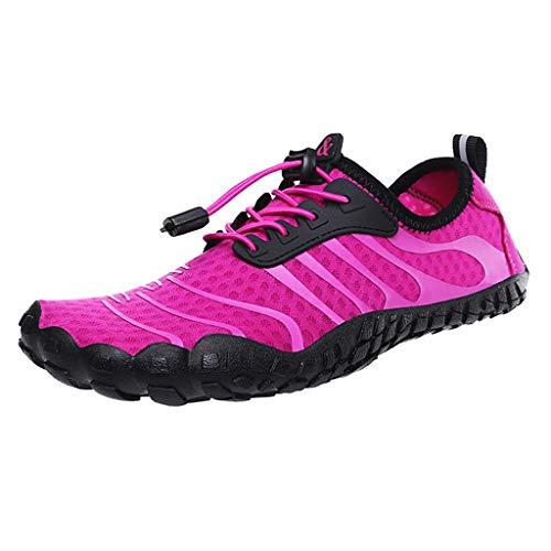 Zapatos de agua descalzos de secado rápido, calcetines de agua, adecuados para escalada deportiva, surf en la playa, calcetines de agua para hombres y mujeres (color rosa, tamaño: 42EU)