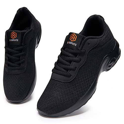 DYKHMATE Laufschuhe Damen Luftkissen Straßenlaufschuhe Leicht Atmungsaktiv Turnschuhe Sportschuhe Fitness Walkingschuhe (Schwarz Mesh,41 EU)
