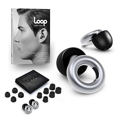 Loop Earplugs - Ohrstöpsel zur Lärm Reduktion (20 dB) - In-ear Gehörschutz für Büro, Home Office, Partys & Konzerte - Inkl. Gehörschutzstöpseln in 3 Größen - Silber