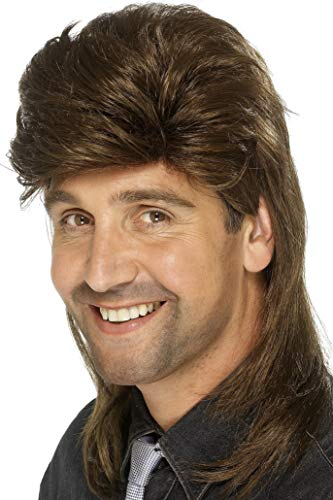 Smiffys mens Mullet Wig Brown , One Size