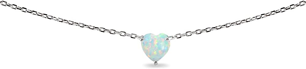 LOVVE Sterling Silver Heart-cut Created Opal Solitaire Fixed 70% OFF Outlet price for sale Choker Ne