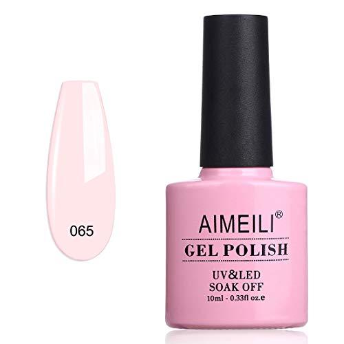 AIMEILI Vernis Semi-Permanent Rose Soak Off UV LED Vernis à Ongles Gel Polish - CLEAR Pink Nude (065) 10ml