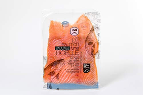 Saumon rouge du Pacifique fumé Sauvage 4 tranches MSC - 60g, en grandes tranches (240g) - Préparé dans nos ateliers en France de façon traditionnelle - Livraison express - 2 paquets de 120g