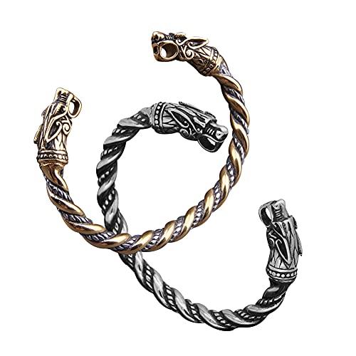 BBYOUTH Pulsera de Lobo Vikingo Fenrir para Hombres y Mujeres, Anillo de Brazalete de Acero Inoxidable de Mito Nórdico con Caja de Regalo (3 Colores),Steel&Gold 1 Pair