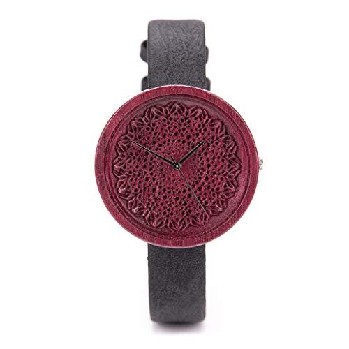 Ovi Watch - Violett Holzuhr Damen Analog Quarz Uhr mit Veganes Ananas Leder Armband mit Holzgeschenkbox