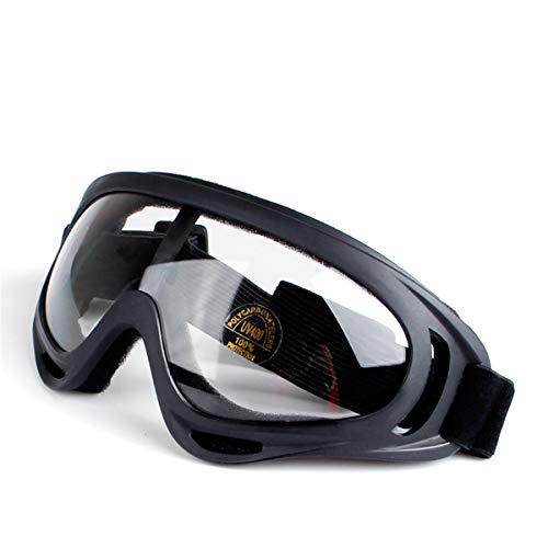 Lesrly-Cycle Gafas de Bicicleta, Gafas de Moto Ajustables Anti-Ultravioleta, protección contra Impactos a Prueba de Polvo y Anti-Niebla, para Laboratorio/Bicicleta, Negro, Transparente